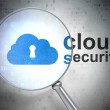 Постер, плакат: Networking concept: Cloud With Keyhole and Cloud Security with o