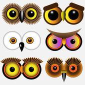 Eyes of owlsVector set