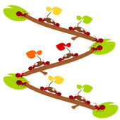Red ants pick the tree in teamwork power concept illustration