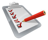 A clipboard with pencil marking on it A survey opinion poll or inspection document