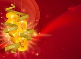 Sfondo di decorazioni rosso buon anno 2013 con nastro dicendo: felice anno nuovo e decorazioni oro leggendo 2013