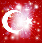 Flag of Turkey background with pyrotechnic or light burst and copy space in the centre