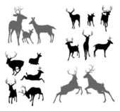 A set of deer silhouettes including fawn doe bucks and stags in various poses Also a family group pose and two stags fighting