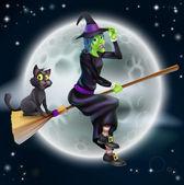 čarodějnice létající na koštěti a noční obloha