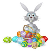 White Easter bunny rabbit with a basket of colorful chocolate Easter eggs