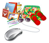 Online holiday vacation travel sale icon of a computer mouse with holiday vacation items
