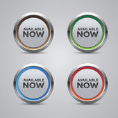 Available now button set vector