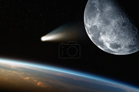 Earth, moon, comet in space