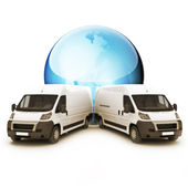 Truck Courier World wide concept