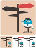 Conceptual illustration for choice and directions It is in 4 different versions