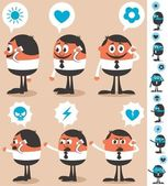 Businessman talking on his smart phone He is in 12 different versions No transparency and gradients used