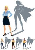 Conceptual illustration of ordinary woman with superheroine shadow The illustration is in 4 versions No transparency and gradients used