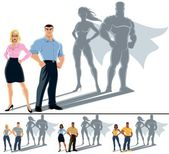 Conceptual illustration of ordinary couple with superhero shadow The illustration is in 4 versions No transparency and gradients used