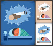 Cartoon illustration of snoring man in 3 color versions No transparency and gradients used