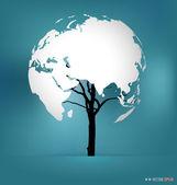 Strom ve tvaru mapa světa. vektorové ilustrace
