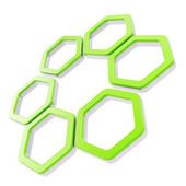 šest část složení z šestiúhelník segmentů, samostatný