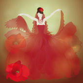 Charming woman in field poppies