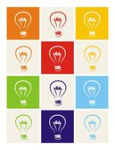 Light bulb vector icon set - hand drawn colorful doodle collection turn on and off isolated on white with green blue dark denim beige red orange and yellow background Sign of ecology or creative thinking