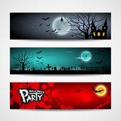 Happy Halloween day banner design background set vector illustration