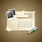 Calendar November 2014 vintage paper note vector illustration