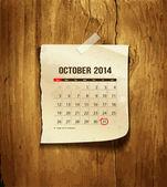 Calendar October 2014 vintage paper on wood background vector illustration