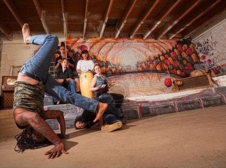 Постер, плакат: Acrobatic Capoeira Performers, холст на подрамнике