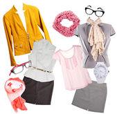 Koláž moderní oblečení a příslušenství izolovaných na bílém