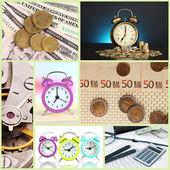 Obchodní koláž. koncept času a peněz