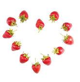 červené zralé jahody, izolované na bílém