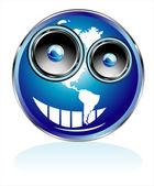 Funny World map Smile tiwh speaker eyes