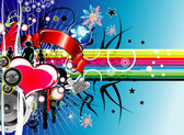 Abstract grunge background Flower heart rainbow and music
