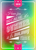 Happy summer poster with a colorful background different typing styles and grunge water drops effect and vintage retro framing style