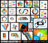 Extreme Collection of 25 quality Infographics background A lot of different templates ready to display your data