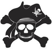 Pirátská lebka černé bílé ilustrace