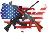 útočné pušky s obrázek vlajky mapa usa
