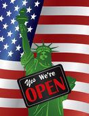 Nyitottak vagyunk kormány Shutdown jel velünk zászló