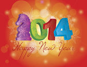 2014 Happy Chinese New Year of the Horse Text and Numbers with Snowflakes Pattern on Bokeh Background Illustration