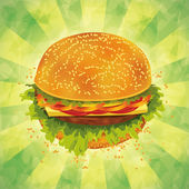 Tasty hamburger with tomato pepper cheese and ham on grunge background Vector illustration