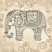 Stylized fantasy patterned elephant Hand drawn vector illustration Can be used separately from backdrop