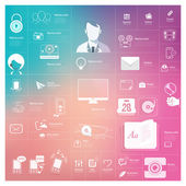 Flat vintage infographics elements with icons for website mobile and print templates