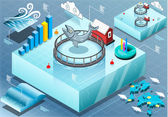Detailed illustration of a Isometric Infographic of Sea Farmed Fis