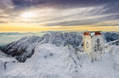 Scenic view of winter mountains from a mountain peak