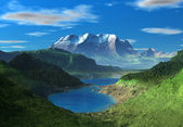 Fantasy Landscape With Mountains And A Lake
