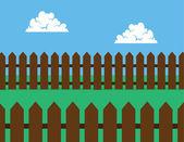 Dvorek plotem hnědá