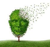 Trattare la malattia di demenza con malattia di alzheimer come icona di un medico di un albero a forma di una testa umana vista frontale e cervello perdendo le foglie come sfide in intelligenza e perdita di memoria a causa di lesioni o di vecchiaia