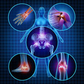 Concetto di anatomia umana di dolori articolari con il corpo come un gruppo di pannelli circolari di zone doloranti come simbolo della malattia dolore e lesioni o artrite sintomi di assistenza sanitaria e medicali a causa di invecchiamento o lesioni di sport e lavoro