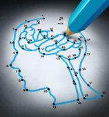 Cervello e intelligenza terapis ricerca sfide come concetto medico con a collegare i puntini puzzle disegno collegato da una matita blu che rappresenta un medico a forma di una testa umana e lorgano del pensiero