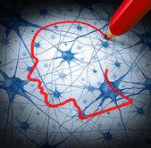 Concetto di ricerca neurologia esaminando i neuroni di una testa umana per guarire la perdita di memoria o cellule a causa di demenza e altre malattie neurologiche come metafora di speranza di ricerca medica salute mentale