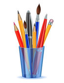 Brushes pencils and pens in the holder Vector illustration