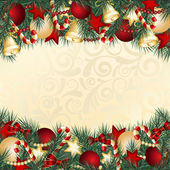 Christmas card with Christmas tree branches and balls Vector illustration